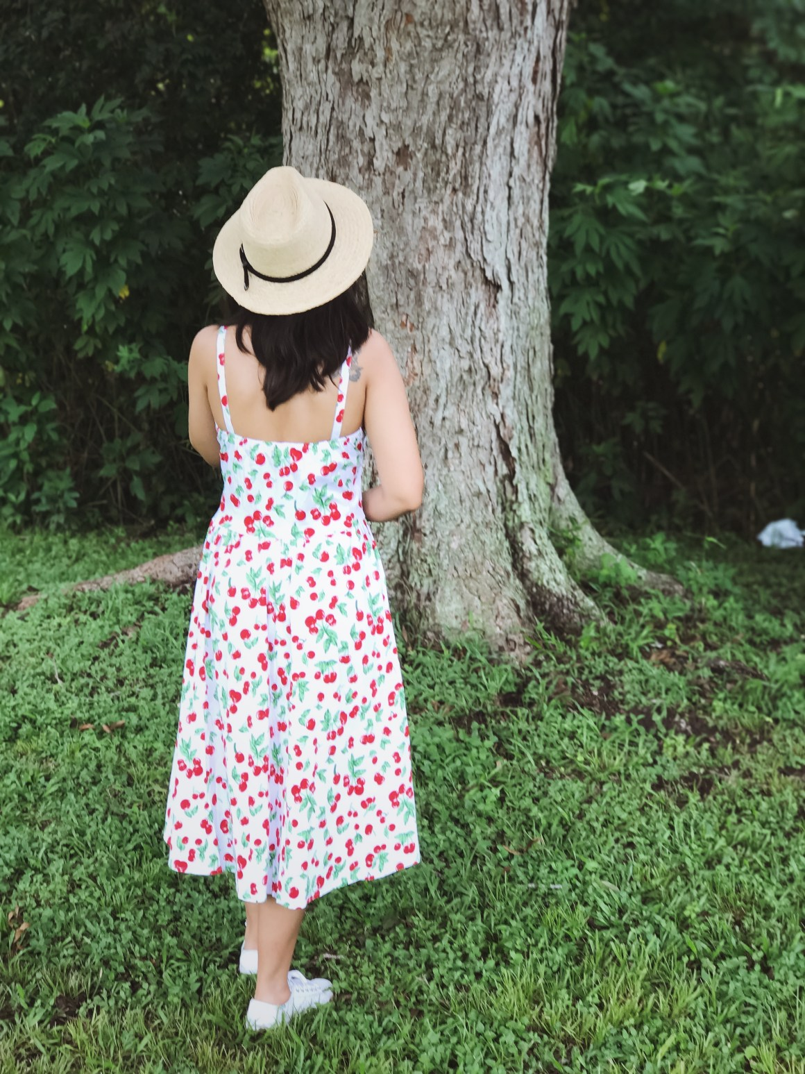Cherry Print Dress, ASOS hat