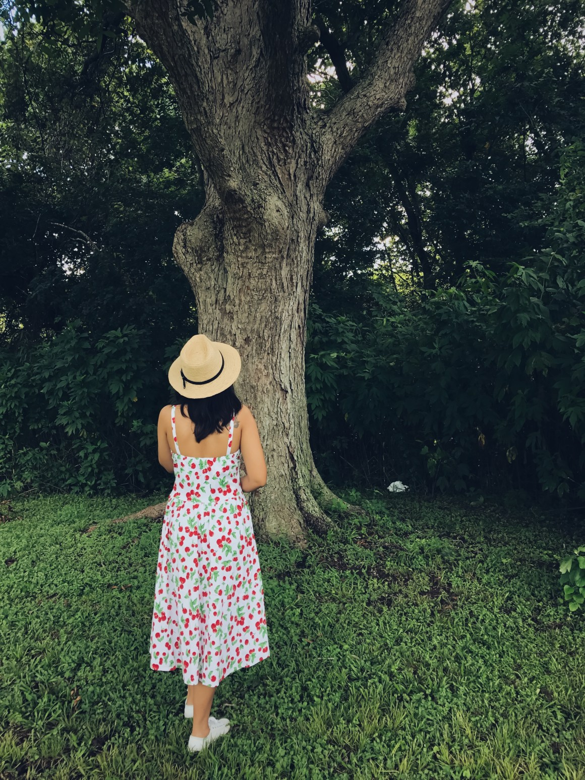 Cherry Print Dress, ASOS hat, KEds white sneakers