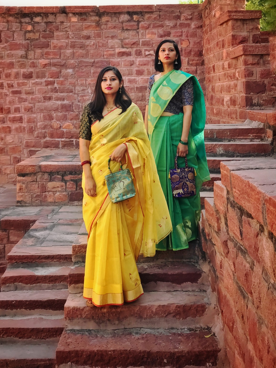 Celebrating the Saree - Green Supernet saree, Yellow Chanderi saree
