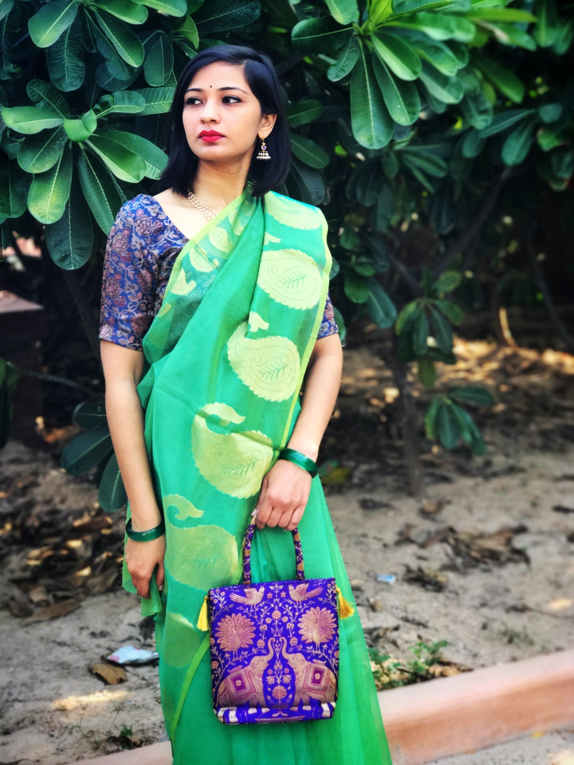 Celebrating the Saree - Green Supernet saree, brocade blouse and bag