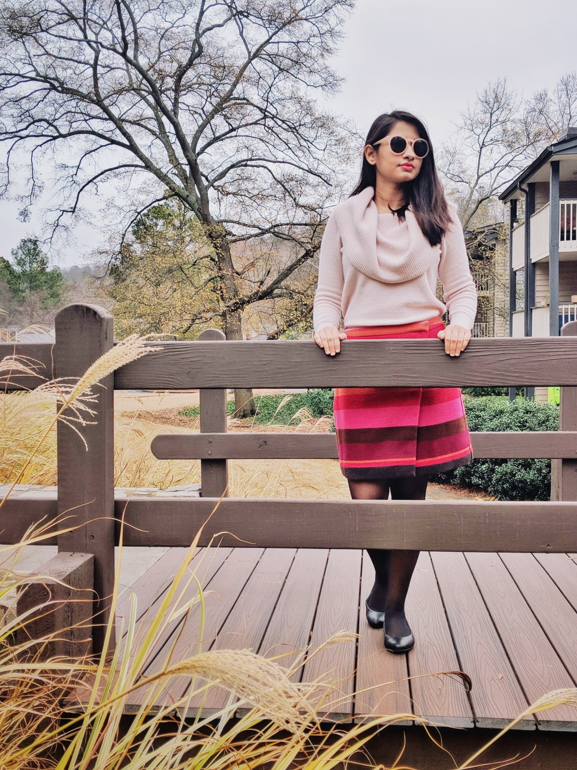 Cowlneck Sweater & Wrap skirt LOFT
