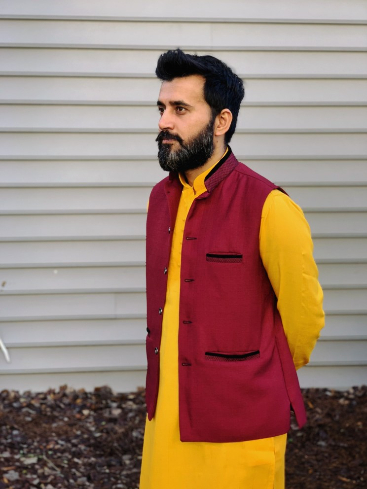 Yellow Kurta with Nehru jacket