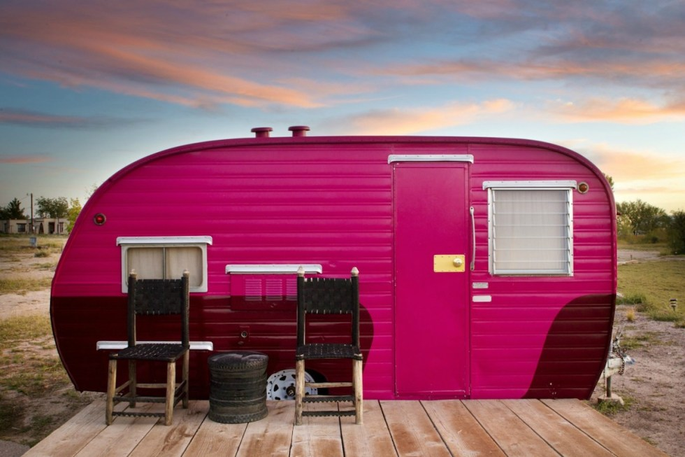 El Cosmico trailer in Marfa, Texas