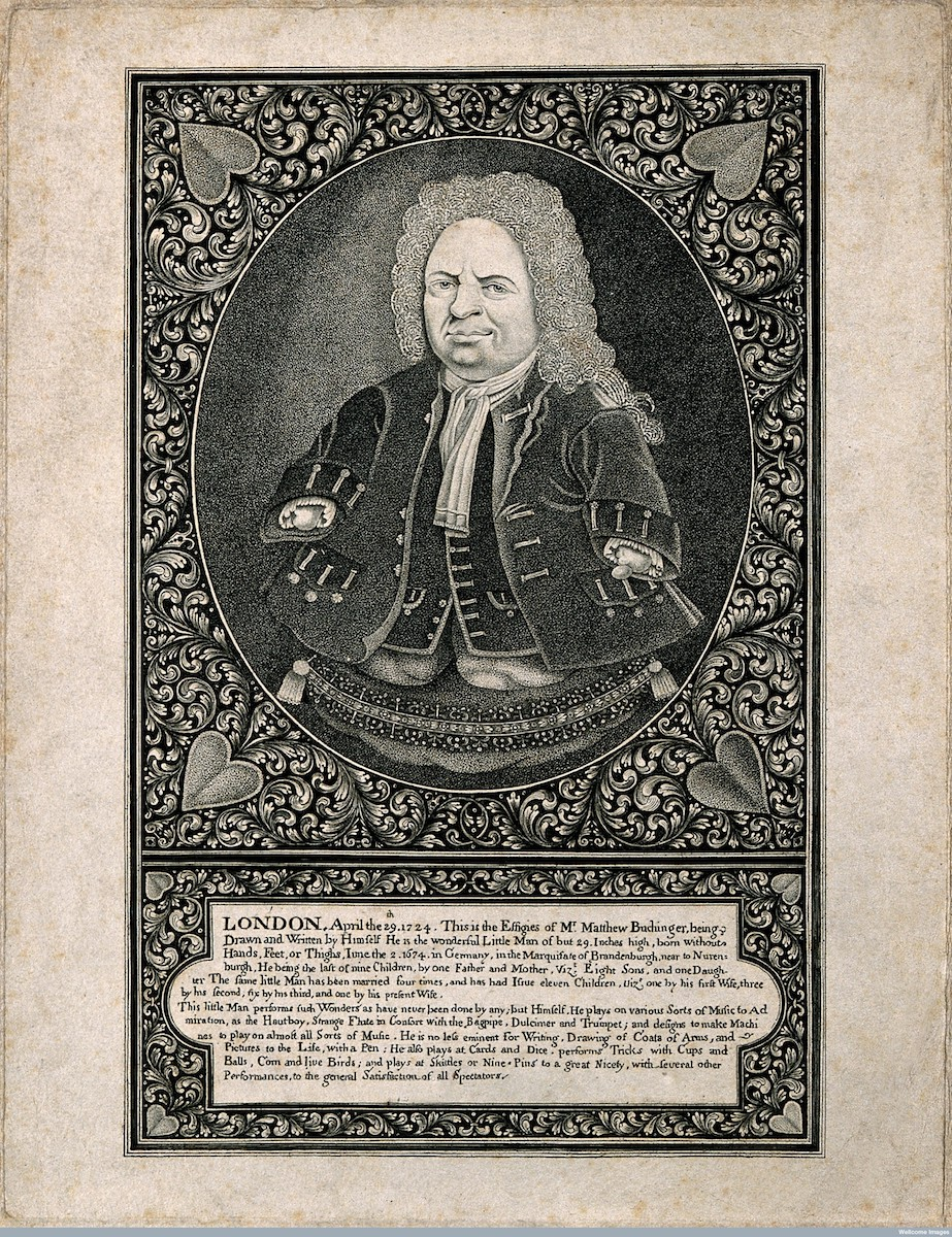The German performer Matthias Buchinger (1674-1740) who was born without arms or lower legs and was 29 inches tall.