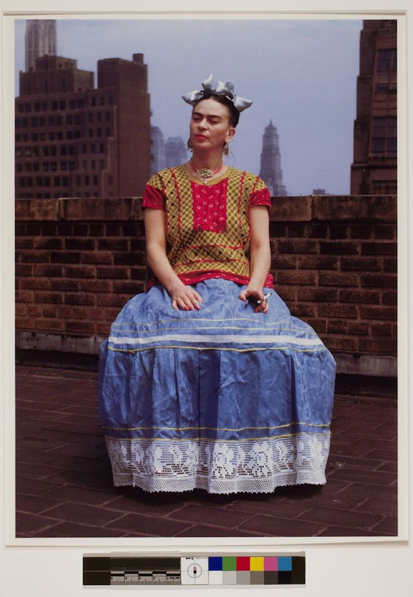 Frida Kahlo on a rooftop in New York City.
