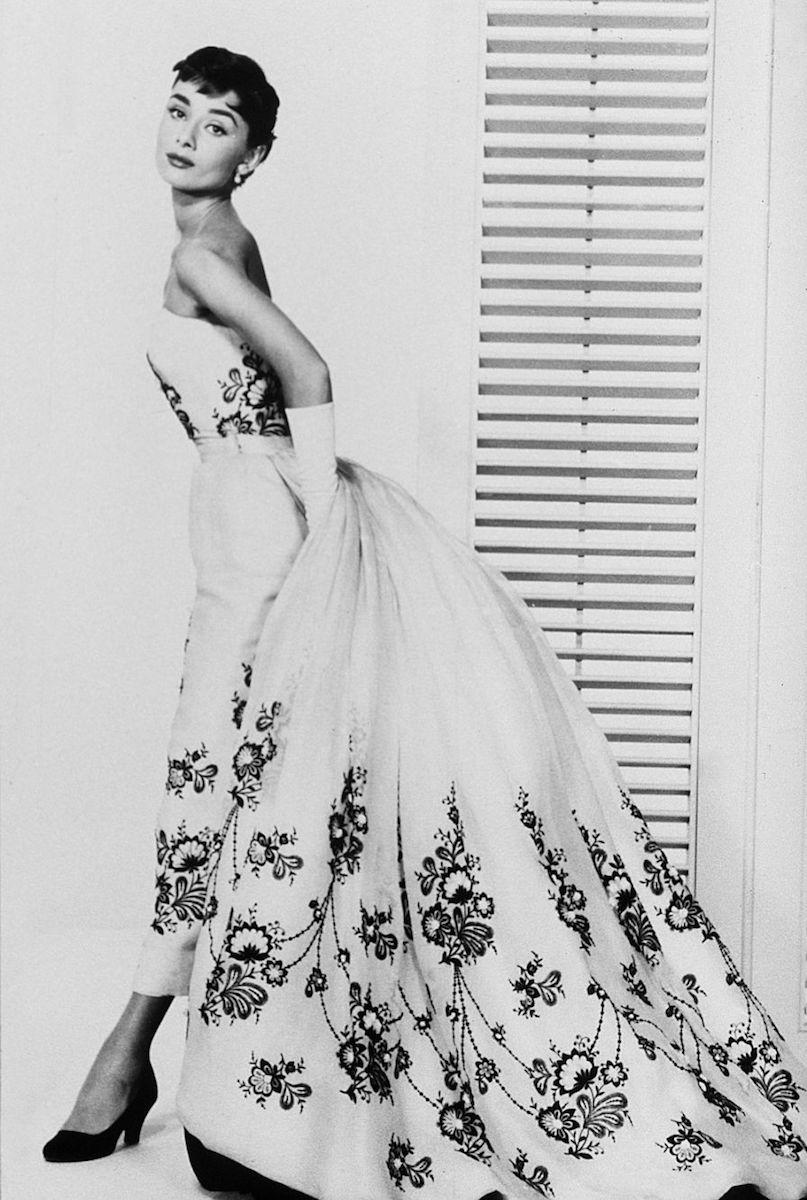 """Audrey Hepburn as """"Sabrina,"""" wearing Hubert de Givenchy creation."""