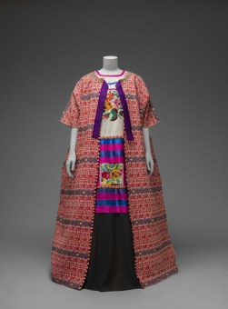 Guatemalan cotton coat worn with Mazatec huipil and plain floor-length skirt. Museo Frida Kahlo. © Diego Rivera and Frida Kahlo Archives, Banco de México, Fiduciary of the Trust of the Diego Rivera and Frida Kahlo Museums
