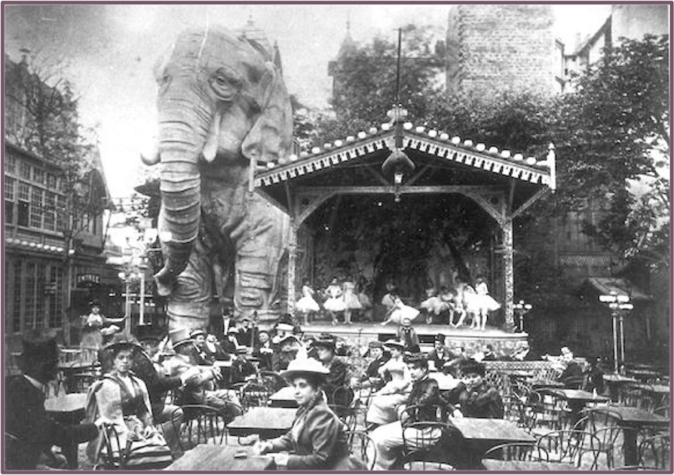 Moulin Rouge's wooden elephant was purchased from the Exhibition Universelle of 1900.