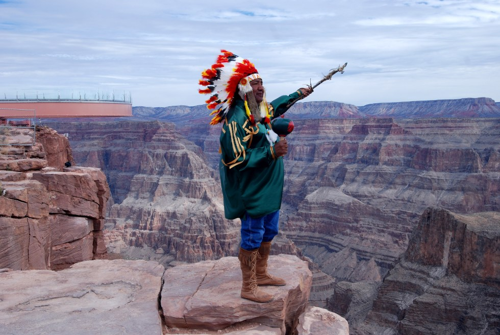 A Hualapai Indian tribe member at theGrand Canyon's West Rim in Peach Springs, Arizona.