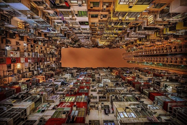 Huge concrete residential building called Monster Building in Quarry Bay, Hong Kong.