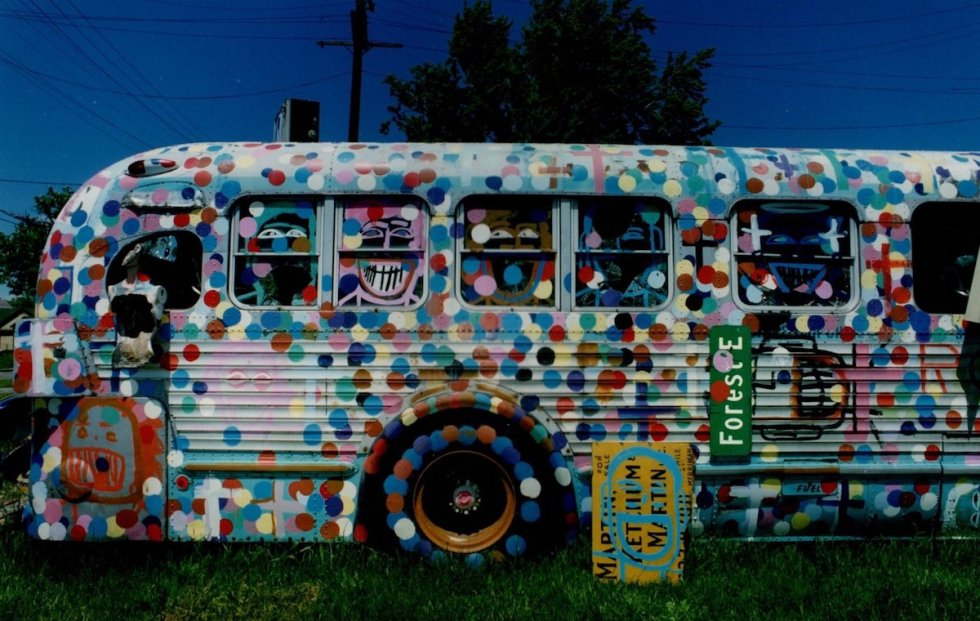Polka-dotted bus for the Heidelberg Project in Detroit, Michigan.