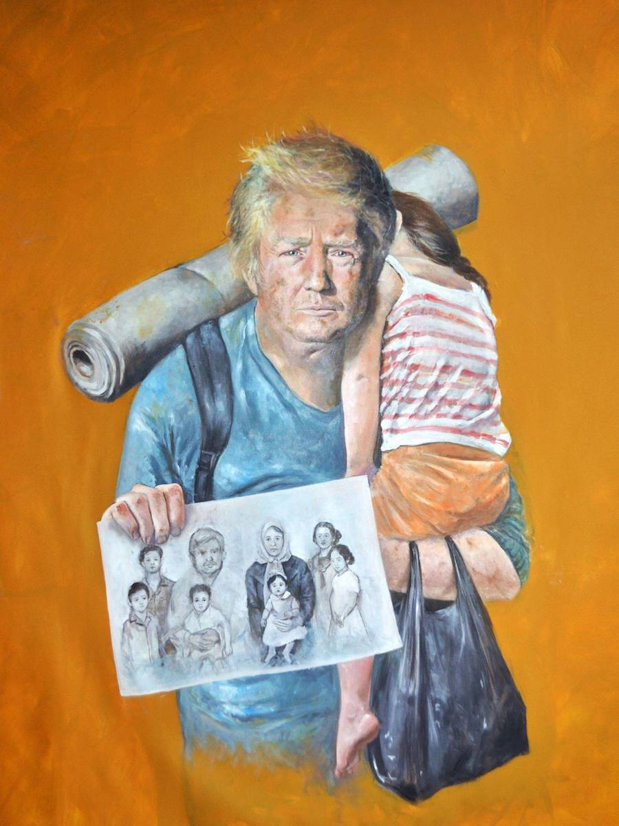 Painting of the 45th President of the United States Donald Trump by Abdalla Al Omari