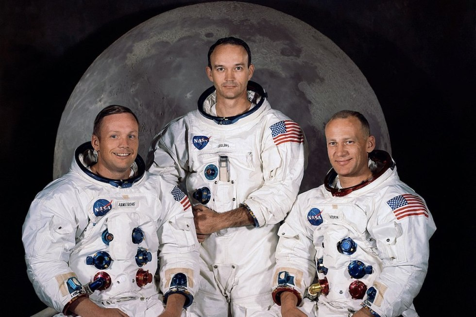 Apollo 11 crew from left to right: Neil Armstrong, Michael Collins and Buzz Aldrin.