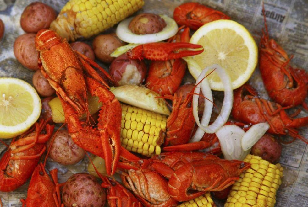 Broiled crawfish, travelers' favorite food, in New Orleans, Louisiana.