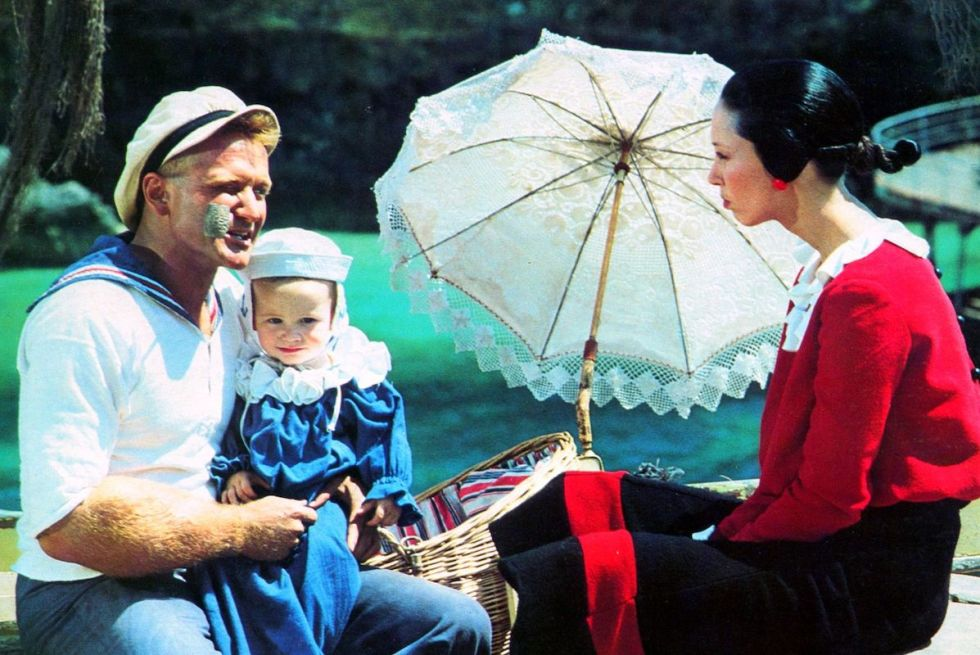 "Photo of Robin Williams portraying ""Popeye"" and Shelley Duvall as ""Olive Oyl"" taken during the 1980 movie's shootings in Malta."