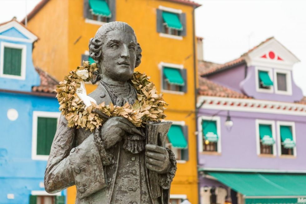The statue of composer Baldassare Galuppi made by Remigio Barbaro in Piazza Galuppi, Burano island, Italy.