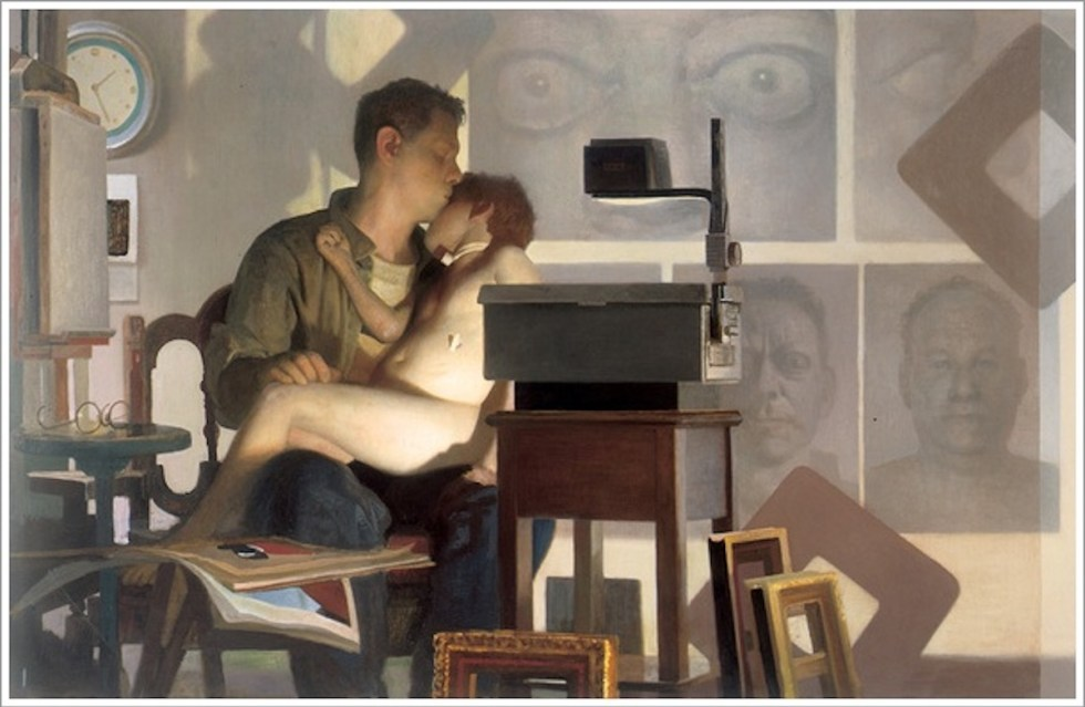 """Vincent Desiderio, """"An Allegory of Painting,"""" (2003). In this haunting painting, Vincent Desiderio is depicted in his studio holding and kissing his oldest son Sam. The boy suffered severe brain damage after he had a stroke as a result of a medical procedure at the age of 4."""