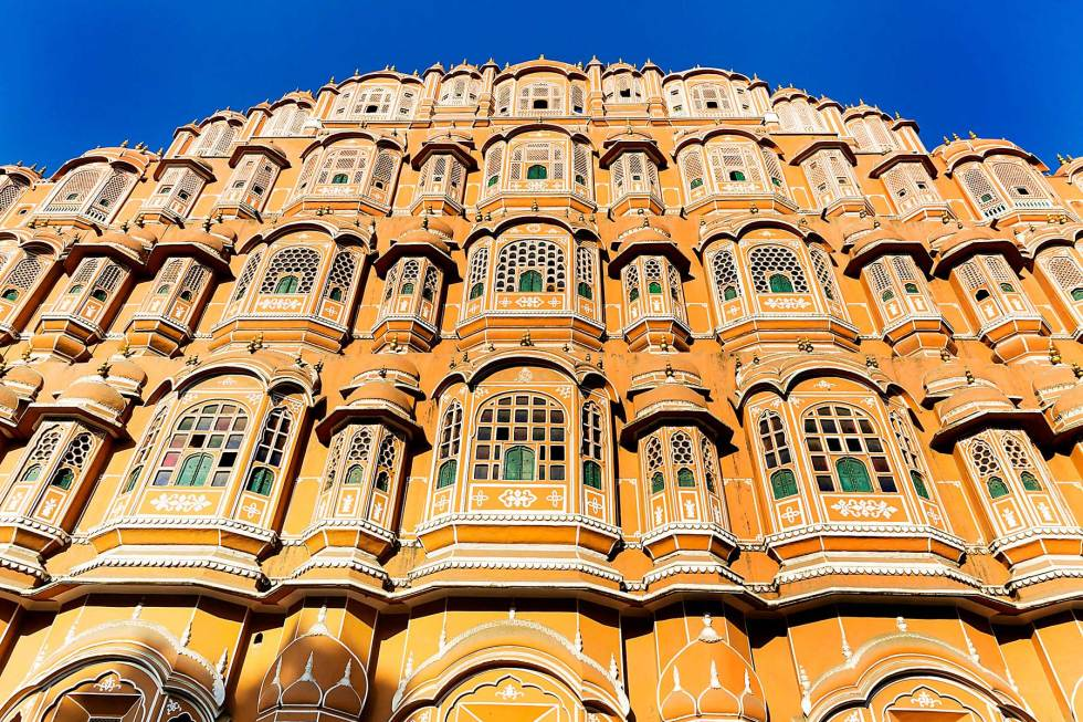 Hawa Mahal, the palace with the distinctive rosy color, standing five-stories high in Jaipur, India.
