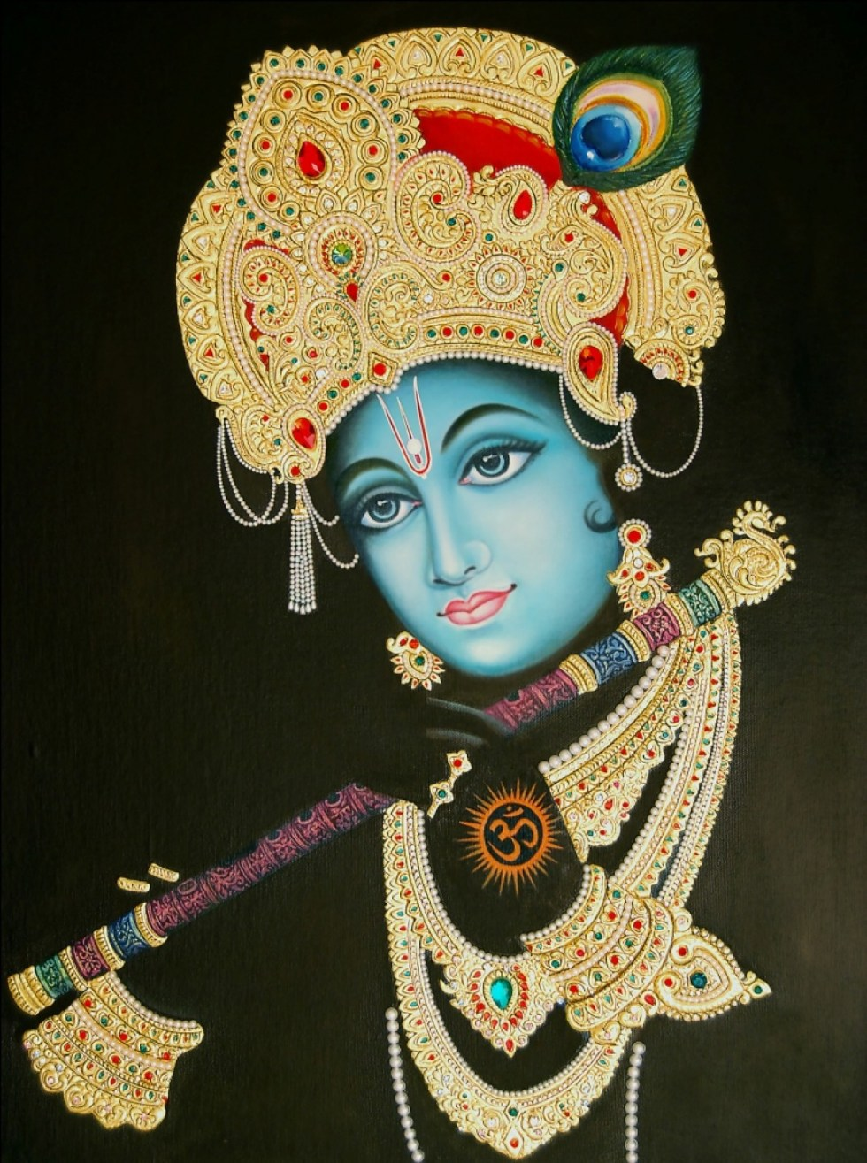 Lord Krishna, a major deity in Hinduism, wearing the famous crown from which Hawa Mahal took its design.