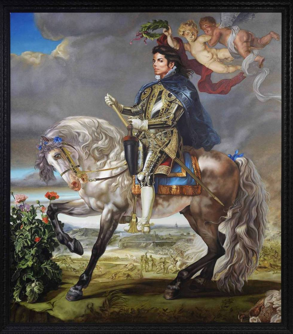 """Kehinde Wiley's never-displayed-before """"Equestrian Portrait of King Philip II (Michael Jackson)"""", 2010."""