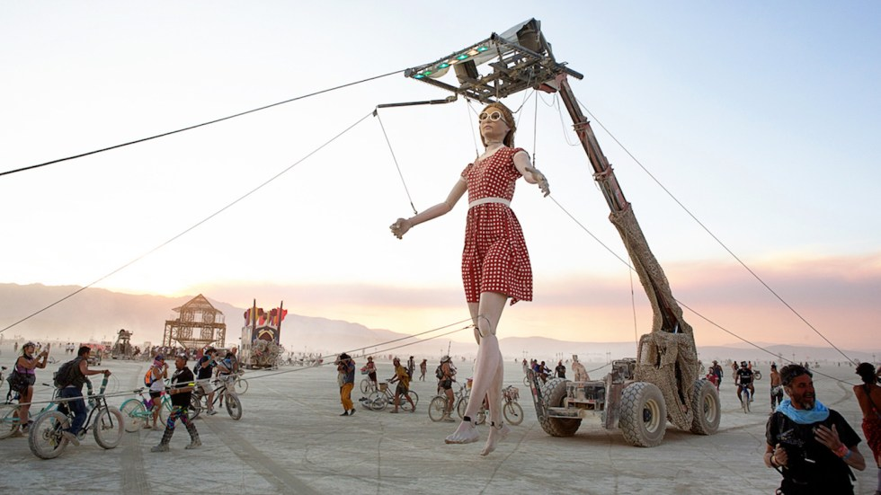 The over 20-foot-tall marionette that was presented during the 2017 edition of Burning Man. Credit: Burning Man Journal/John Curley