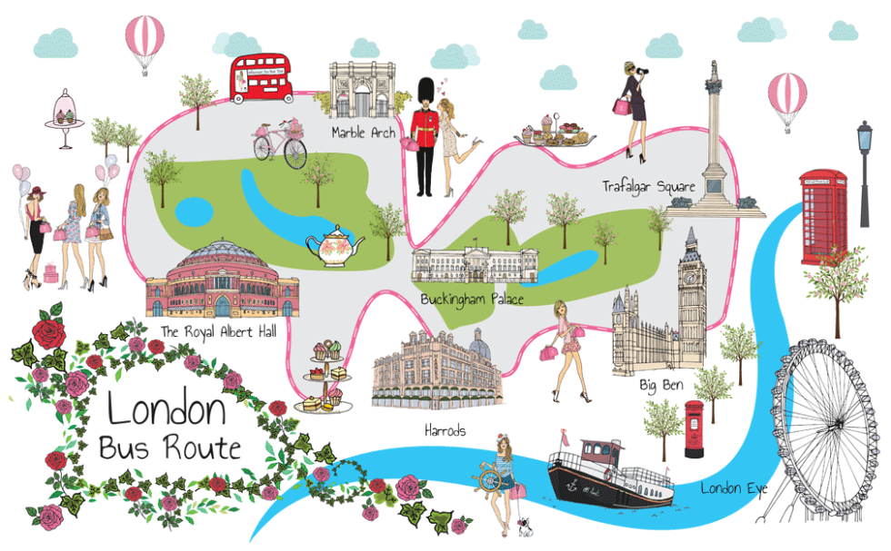 Animated map of Brigit's Bakery Afternoon Tea Bus London Tours