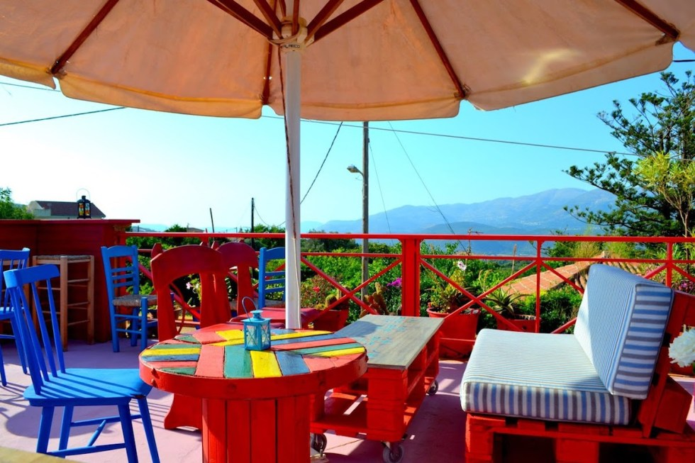 Vibrant colors on the roof terrace of Mescalero Cafe-Bar, in Kefalonia, Greece.
