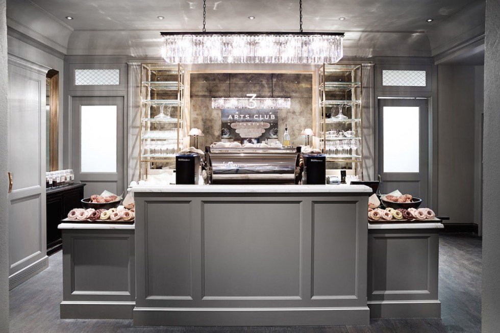 """The """"3 Arts Club Pantry & Barista Bar"""" inside Restoration Hardware in Chicago, USA."""
