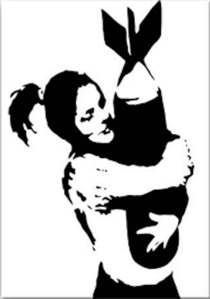 "Banksy, ""Bomb Hugger Signed"" (2003) painting."