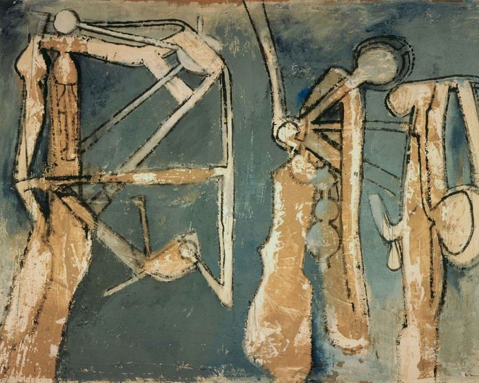 "Roberto Matta (1911-2002), ""Three Figures"" (1958). The creations of Chilean abstract surrealist artist Roberto Matta have been the inspiration of Neil Ellman's chapbook, ""Mind Over Matta"" (Flutter Press, 2015)."