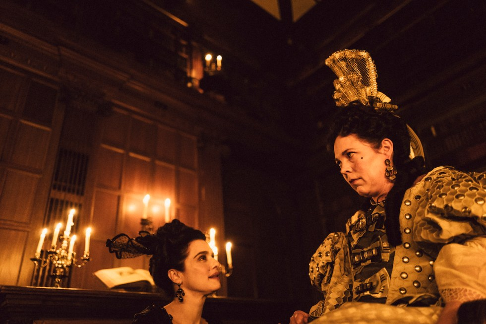Rachel Weisz as Sarah Churchill and Olivia Colman as Queen Anne in