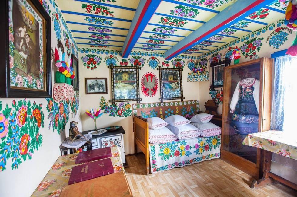A room inside Felicja Curyłowa's home in Zalipie, Poland.