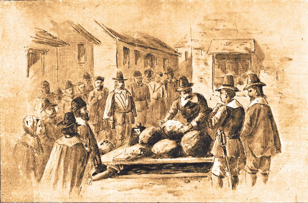 Highly successful farmer Giles Corey was pressed to death during the Salem Witch Trials in the 1690s after he was accused of witchcraft by three women.