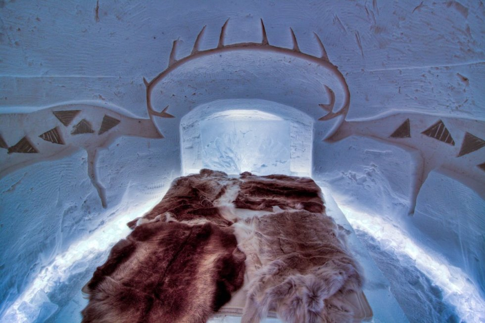"""A room inside the """"Arctic SnowHotel"""" in Sinettä, Finland."""