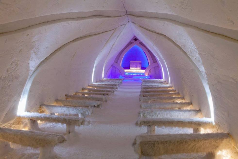 The Ice Chapel at Arctic SnowHotel & Glass Igloos in Sinettä, Finland.