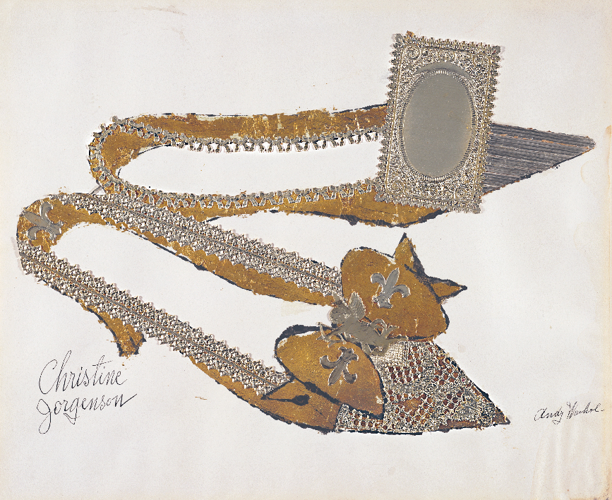 Andy Warhol (1928–1987), Christine Jorgenson, 1956. Collaged metal leaf and embossed foil with ink on paper, 13 x 16 in. (32.9 x 40.7 cm). Sammlung Froehlich, Leinfelden-Echterdingen, Germany © The Andy Warhol Foundation for the Visual Arts, Inc. / Artists Rights Society (ARS) New York