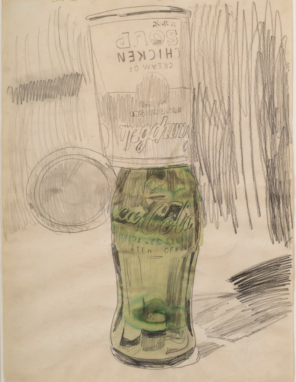 Andy Warhol (1928–1987), Campbell's Soup Can over Coke Bottle, 1962. Graphite and watercolor on paper, 23 1⁄2 × 17 3⁄4 in. (59.7 × 45.1 cm). The Brant Foundation, Greenwich, CT © The Andy Warhol Foundation for the Visual Arts, Inc. / Artists Rights Society (ARS) New York