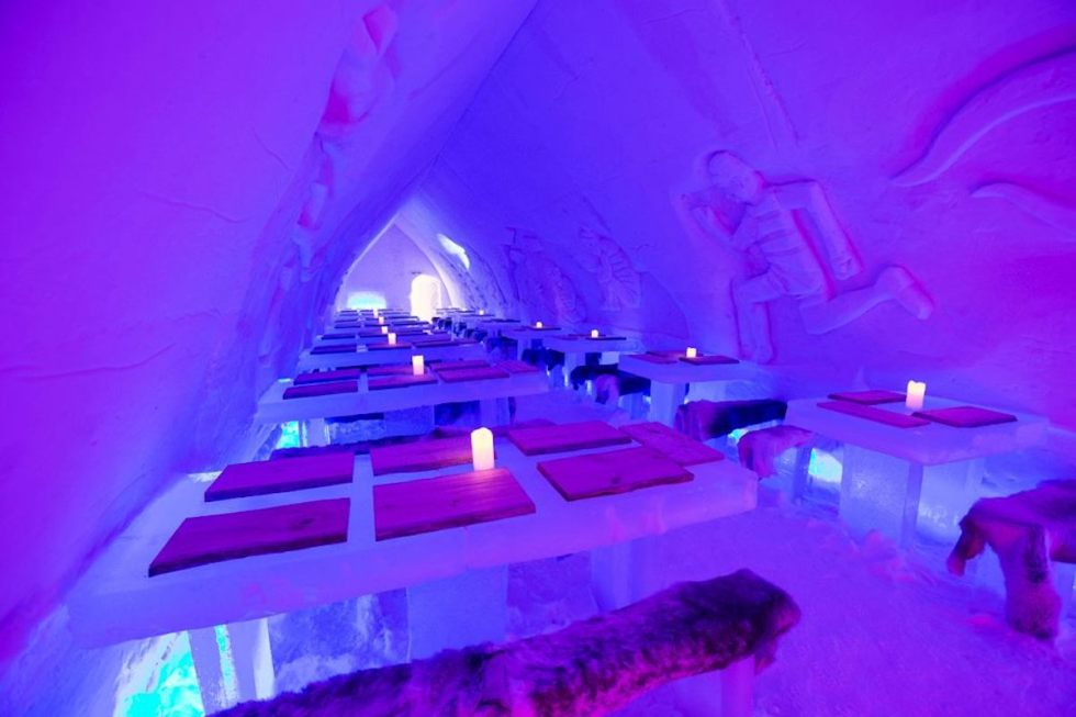 The Ice Restaurant at Arctic SnowHotel & Glass Igloos in Sinettä, Finland.