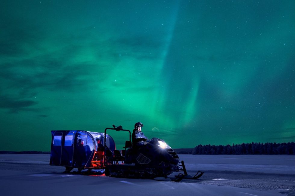 Aurora hunt 5 miles north from Santa Claus Village in Lapland, Finland.
