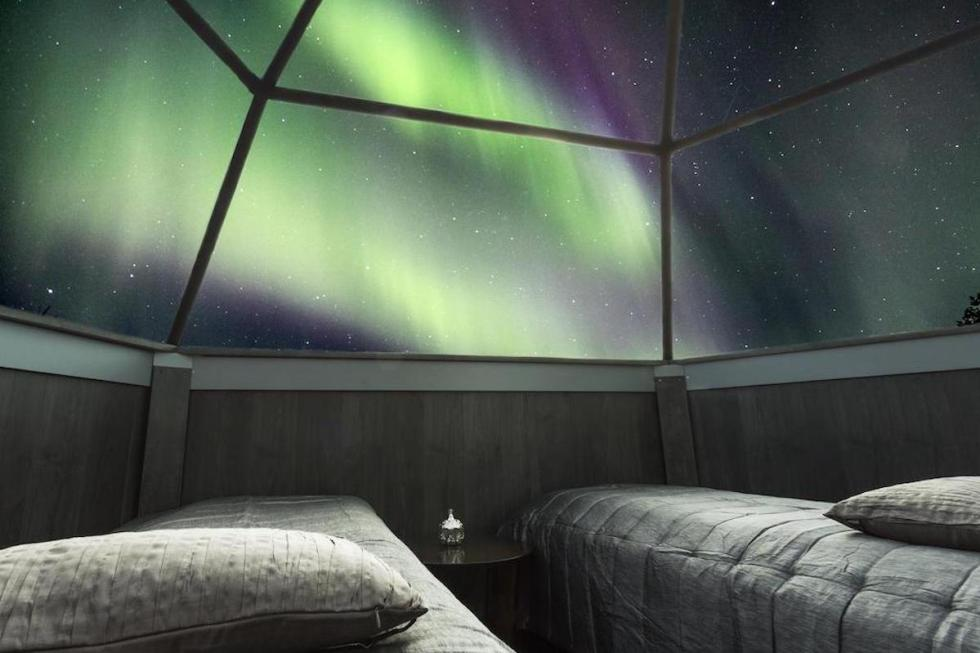 The interior space of an igloo at the SnowHotel & Glass Igloos in Sinettä, Finland.