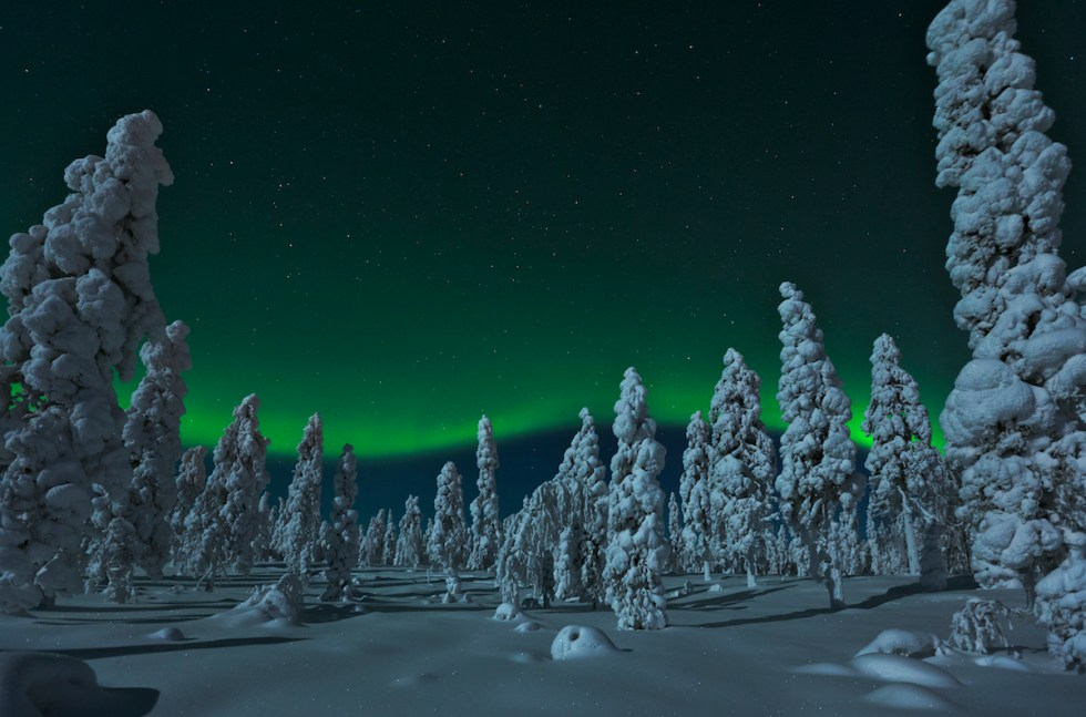 View of the Northern Lights in Rovaniemi, Finland.