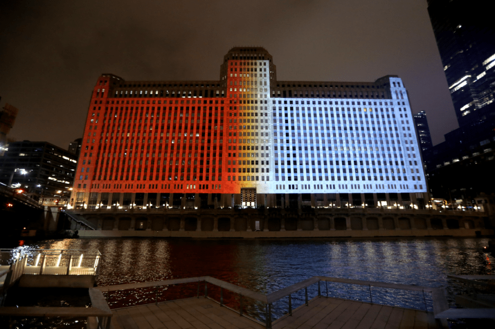 "The world's longest-running digital projection system ""Art on theMART"" hosts works created by Zheng Chongbin."