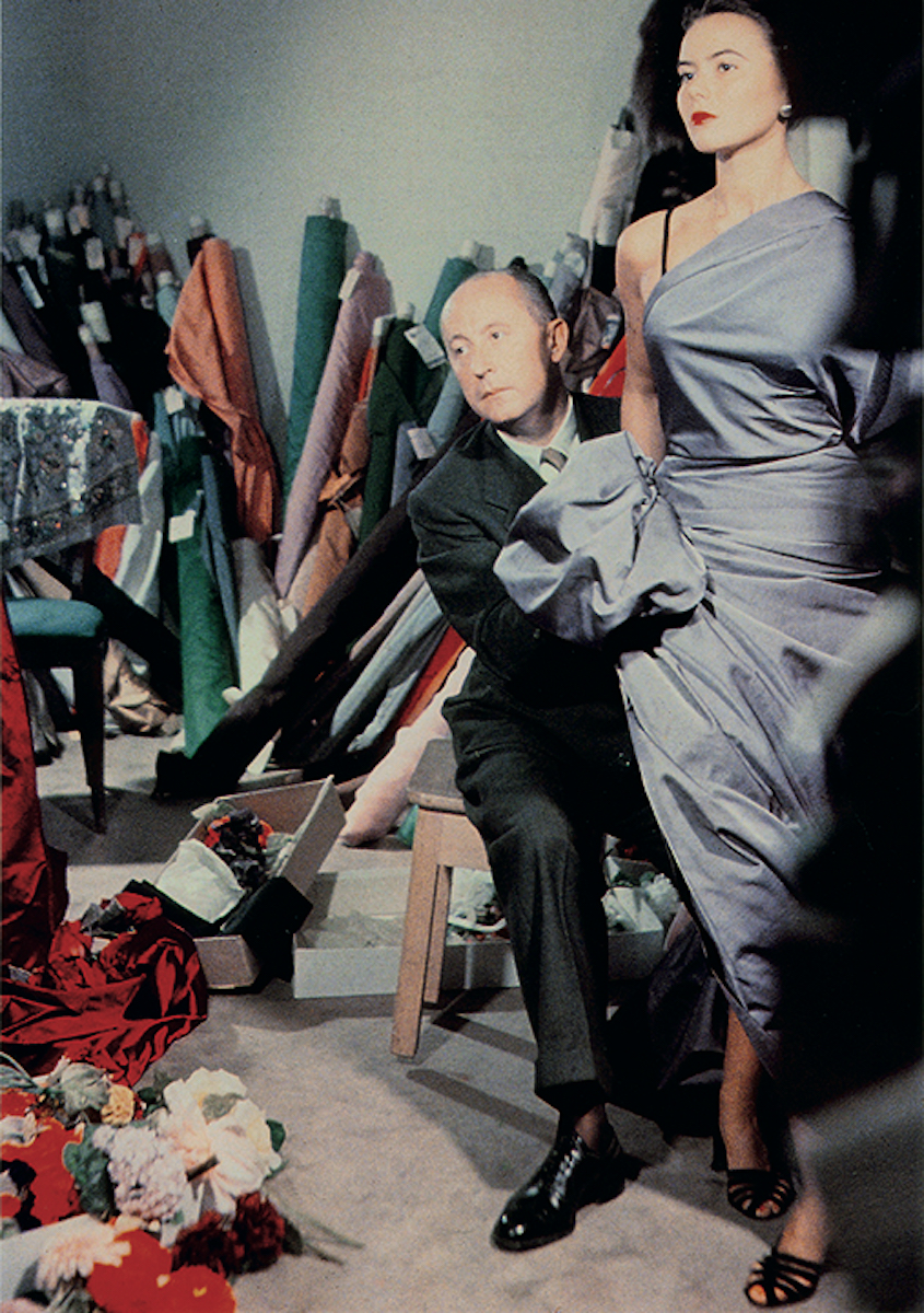Christian Dior draping fabric over model Sylvie.