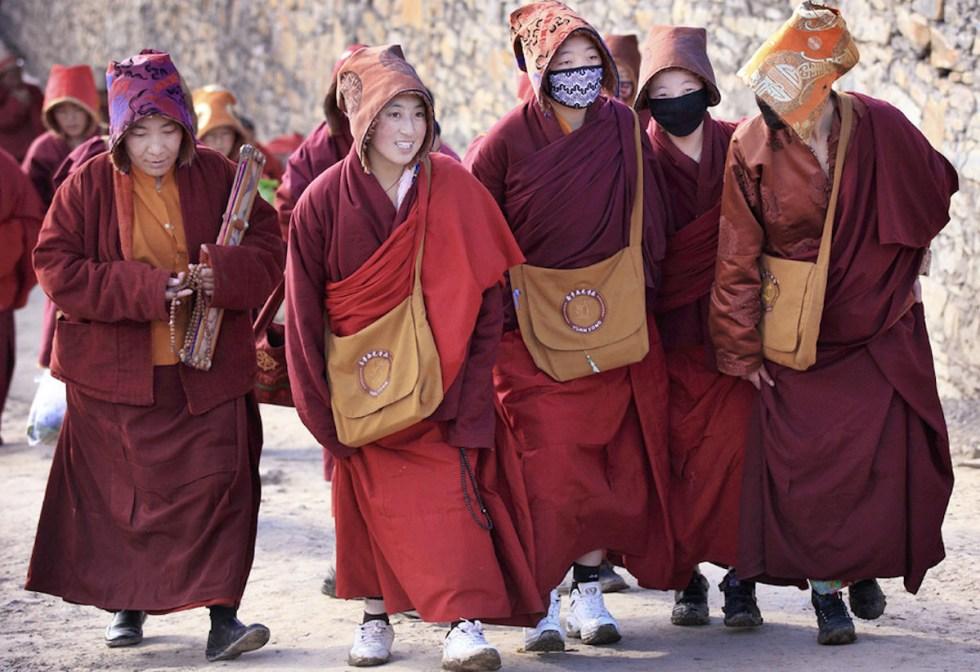 Nuns in Larung Gar Buddhist Academy in Larung Gar, China.