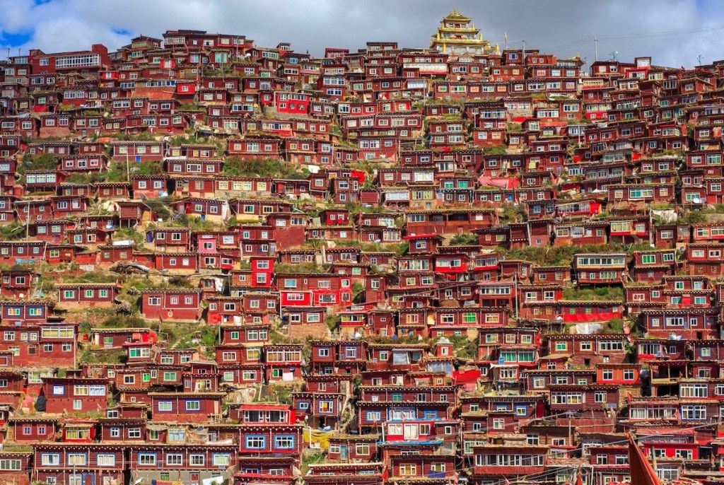The red small box-shaped houses of Larung Gar in China.