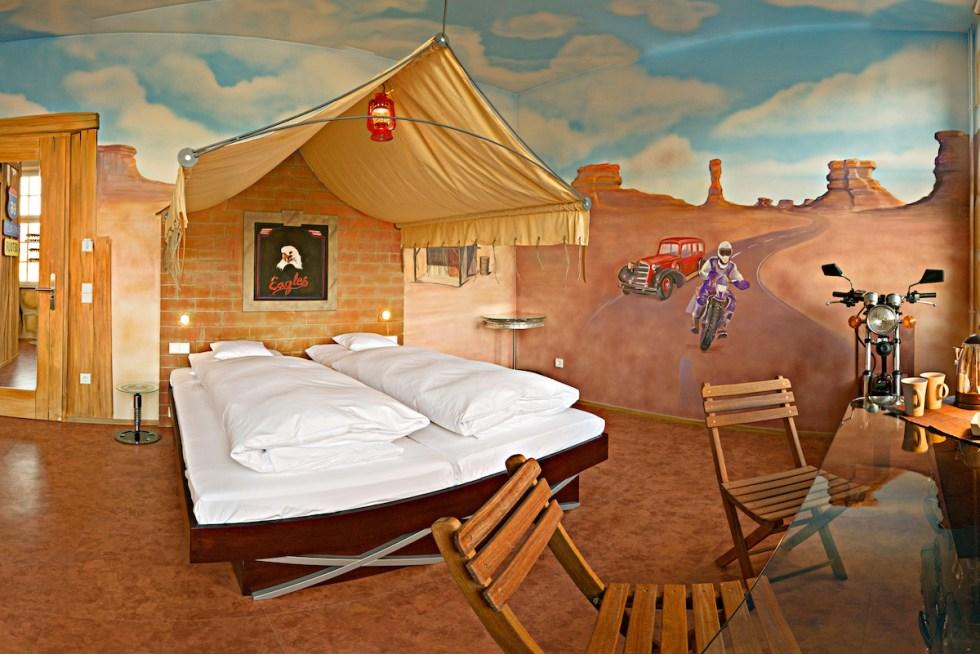 """The """"Route 66"""" room inside the V8 Hotel, in Böblingen, Germany."""