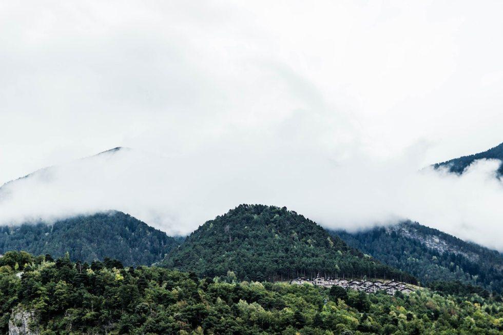 Andorra foggy mountains.
