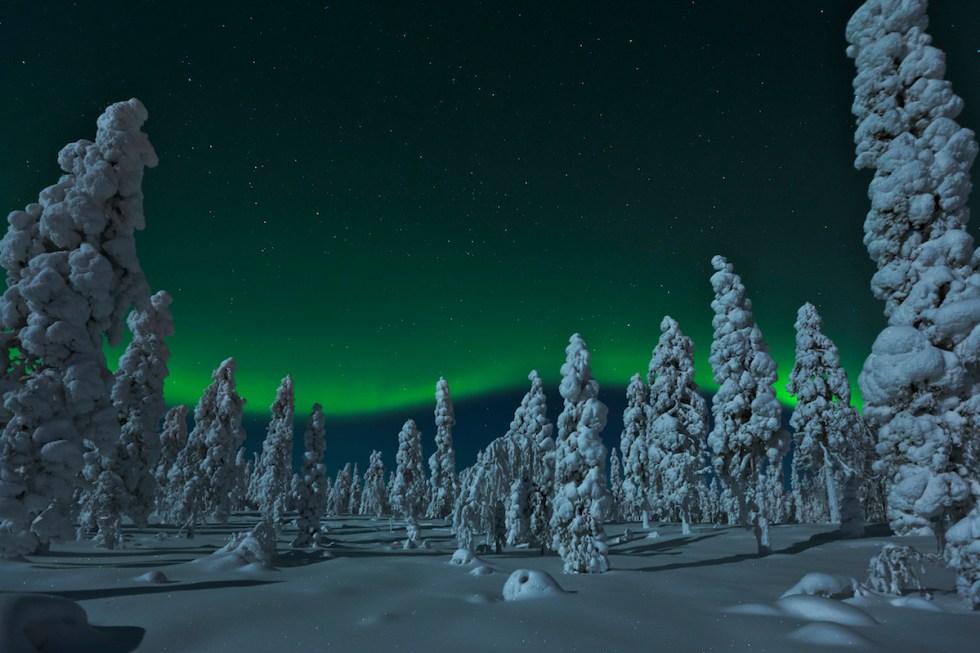 Northern Lights in Rovaniemi, Lapland, Finland.