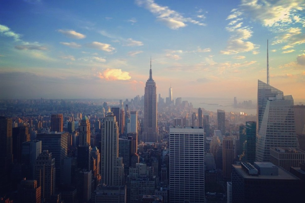 """Sweeping New York City view from """"Rockefeller Center"""" in the heart of Midtown Manhattan, New York City, USA."""