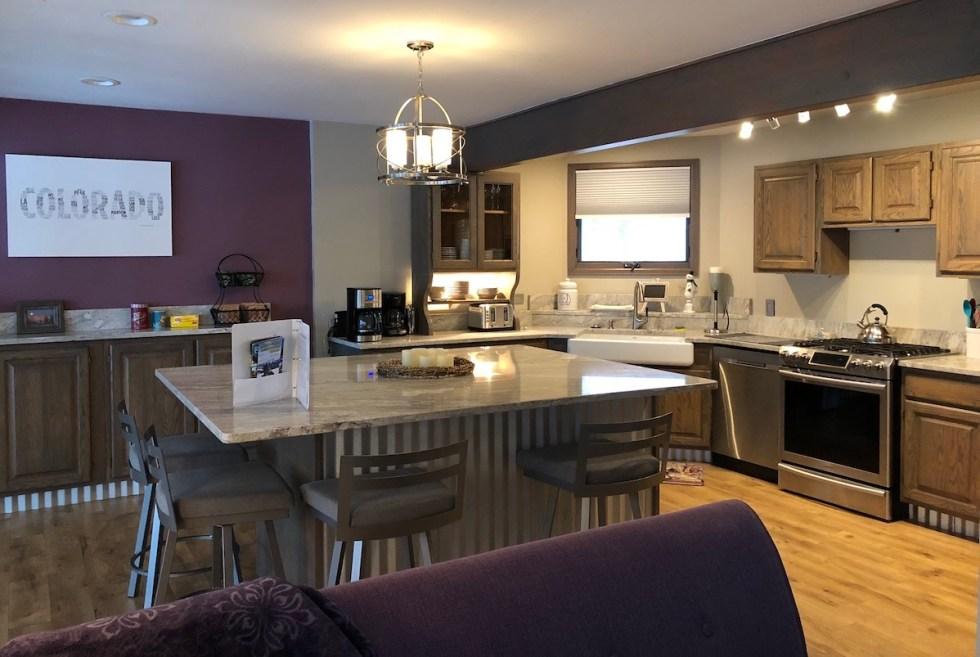 The spacious kitchen of